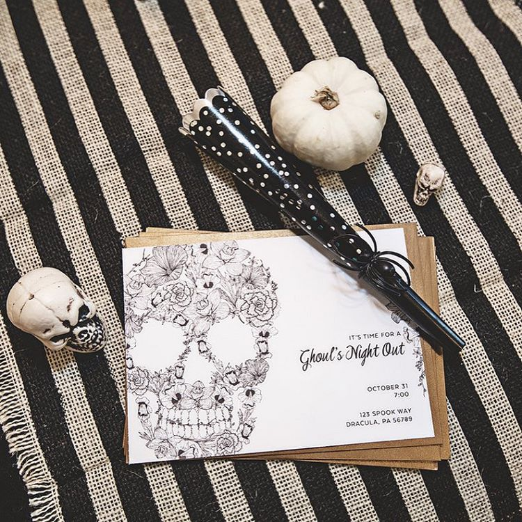 """Isn't this invitation darling? It was made by @confettisunshine for the """"ghouls night out"""" I did with some of my favorite bloggers. More details and photos coming soon to the blog! @armelle_blog @gentrilee @sandyalamode : @dianaputnamphotography"""